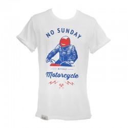 T-Shirt No Sunday Without Motocycle Man - White