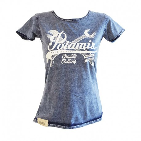 T-Shirt Polamix Hand Printed - Denim