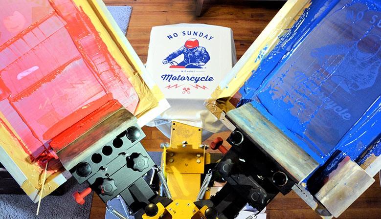 Sérigraphie deux couleurs à l'atelier